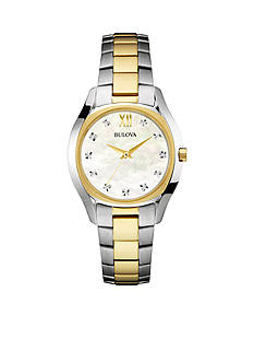 Bulova Women's Two-Tone Diamond Dial Bracelet Watch