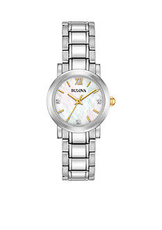 Bulova Women's Stainless Steel Diamond Dial Watch