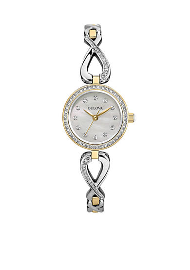 Bulova Women's Crystal Infinity Necklace and Watch Set