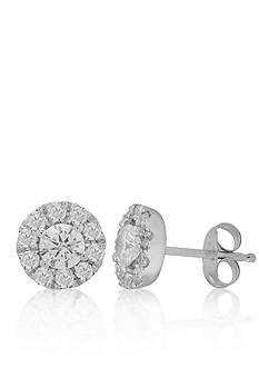 Belk & Co. Diamond Halo Earrings in 14k White Gold