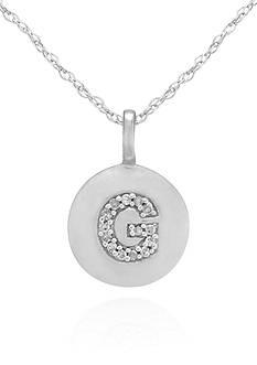 Belk & Co. Diamond Accent G Pendant in 14k White Gold