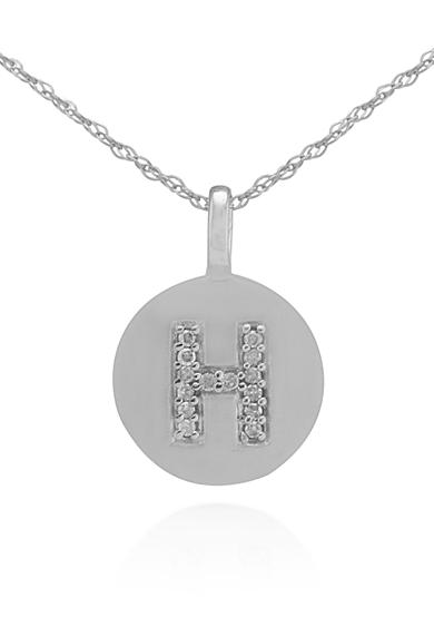 Belk & Co. Diamond Accent H Pendant in 14k White Gold