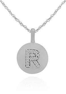 Belk & Co. Diamond Accent R Pendant in 14k White Gold