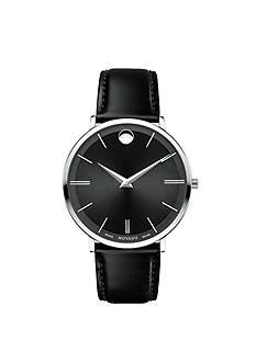 Movado Stainless Steel Black Men's Ultra Slim Watch