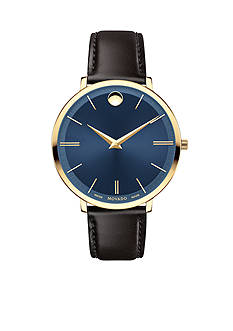 Movado Gold-Tone UltraSlim Black Leather Ladies Watch