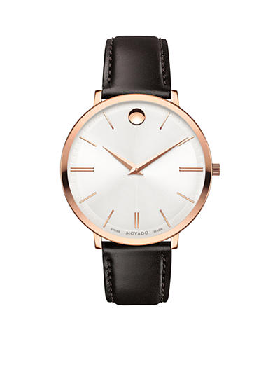Movado Gold-Tone UltraSlim Leather Ladies Watch