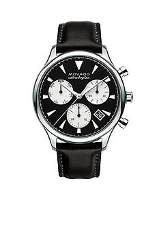 Movado Men's Heritage Black and Silver Chronograph Watch