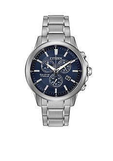 Citizen Men's Eco-Drive Titanium and Ion-Plating Blue Dial Watch