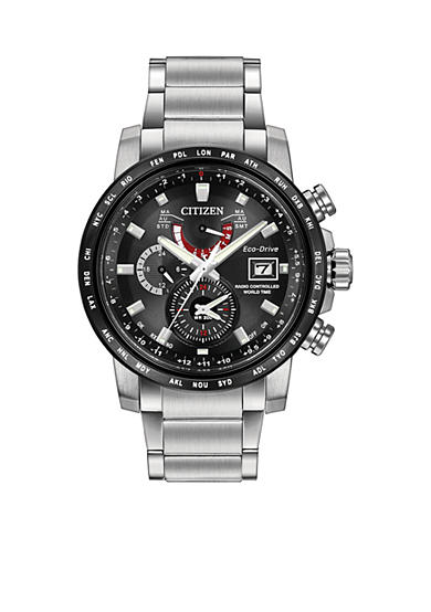 Citizen Men's Citizen Eco-Drive World Time At The Black Dial Watch