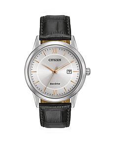 Citizen Eco-Drive Men's Black Leather Strap Watch