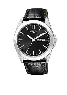 Citizen Men's Stainless Steel Leather Strap Watch