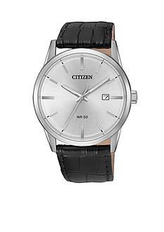 Citizen Men's Black Leather Strap Quartz Watch