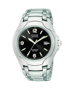 Citizen Men's Eco Drive Titanium Bracelet Black Dial Watch