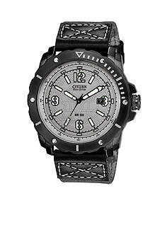 Citizen Men's WDR Black IP Chronograph Strap with Globe Dial Watch