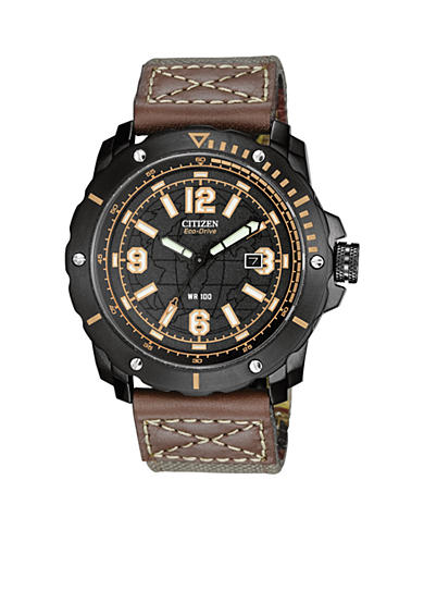 Citizen Men's Black Ion Plated Chronograph Strap Watch