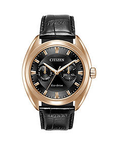 Men's Citizen Eco-Drive Paradex Black Leather Strap