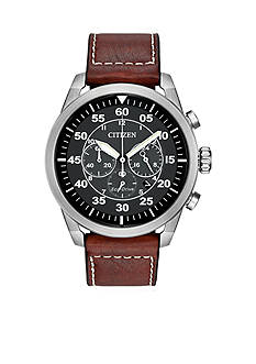 Citizen Men's Eco-Drive Avion Stainless Steel And Brown Leather Watch