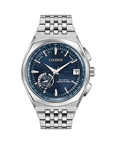 Men's Silver-Tone Stainless Steel Citizen Satellite Wave-World Time GPS Watch