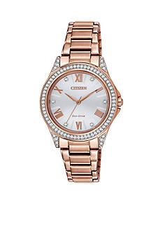 Citizen Women's Pink Gold-Tone Stainless Steel Swarovski Watch