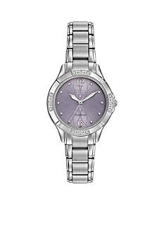 Ladies' Silver-Tone Stainless Steel Citizen Eco-Drive Diamond Watch