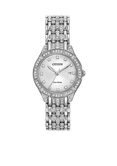 Citizen Women's Eco-Drive Silver-Tone Silhouette with Crystal Accents Watch