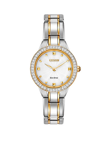 Citizen Women's Eco-Drive Two Tone Stainless Steel Swarovski Crystal Watch