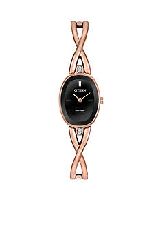 Citizen Women's Eco-Drive Rose Gold-Tone Silhouette Bangle with Black Dial Watch