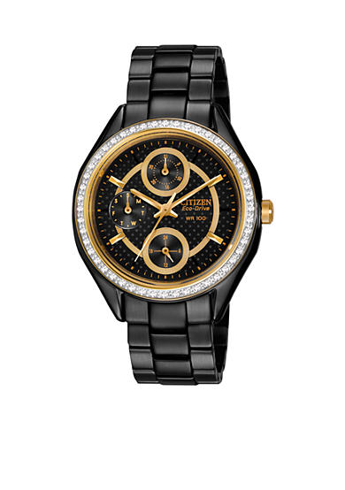 Citizen Women's Black Ion Plated Stainless Steel with Swarovski Crystal Watch