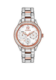 Citizen Women's Eco-Drive Two Tone Stainless Steel Swarovski Watch