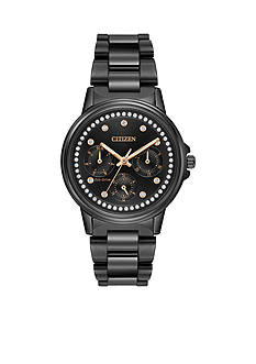Ladies' Black Stainless Steel Citizen Silhouette Crystal Watch