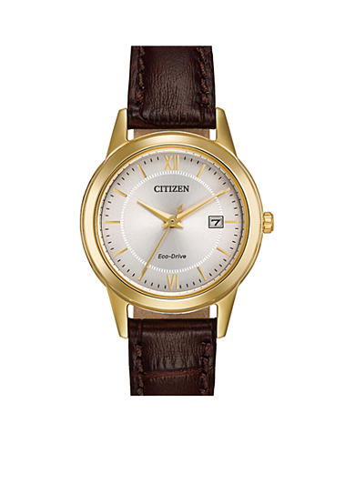 Citizen Eco-Drive Women's Brown Leather Strap Watch