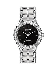 Citizen Eco-Drive Women's Silver-Tone Silhouette Crystal Watch