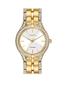 Citizen Eco-Drive Women's Gold-Tone Silhouette Crystal Watch