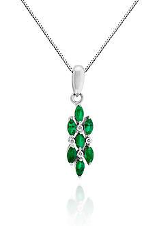 Belk & Co. 14k White Gold Emerald and Diamond Pendant