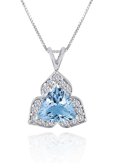 Belk & Co. 14k White Gold Aquamarine and Diamond Pendant