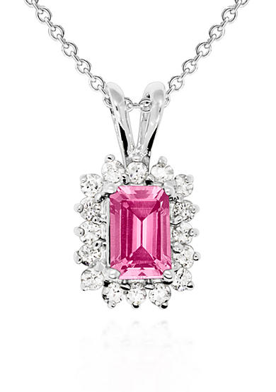Belk & Co. 14k White Gold Pink Sapphire and Diamond Pendant
