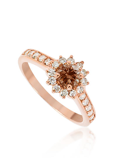 Belk & Co. Brown and White Diamond Ring in 14k Rose Gold
