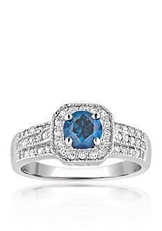 Belk & Co. Blue and White Diamond Ring in 14k White Gold