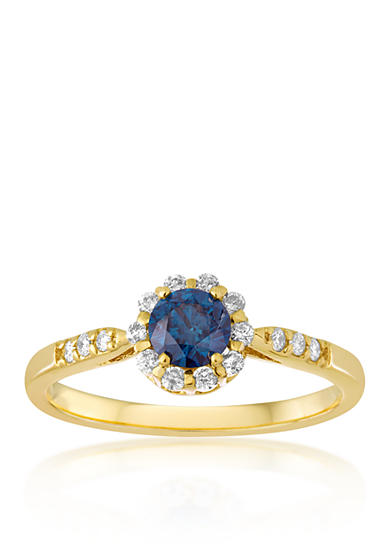 Belk co blue and white diamond ring in 14k yellow gold for Belk fine jewelry rings