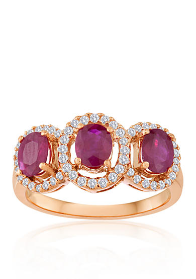 Belk & Co. 14k Rose Gold Ruby and Diamond Ring