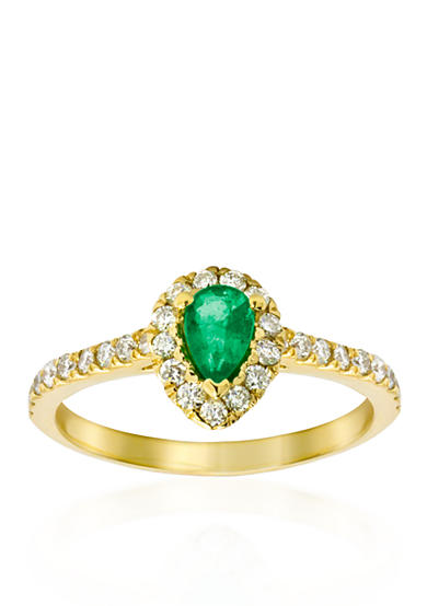 Belk co 14k yellow gold emerald and diamond ring belk for Belk fine jewelry rings