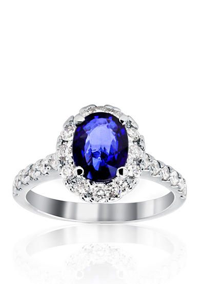 Belk co 14k white gold sapphire and diamond ring belk for Belk fine jewelry rings