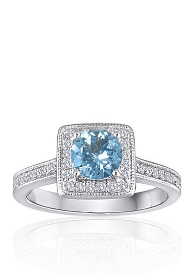 Belk co 14k white gold aquamarine and diamond ring belk for Belk fine jewelry rings