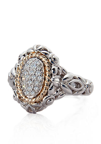 Belk & Co. Diamond Oval Ring in Sterling Silver with 14k Gold