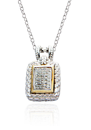 Belk & Co. Diamond Pendant in Sterling Silver with 14k Gold