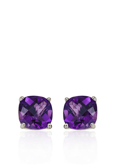 Belk & Co. 14k White Gold 6mm Amethyst Stud Earrings