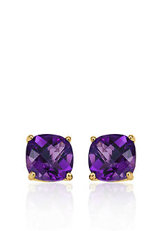 Belk & Co. 14k Yellow Gold 6mm Amethyst Stud Earrings