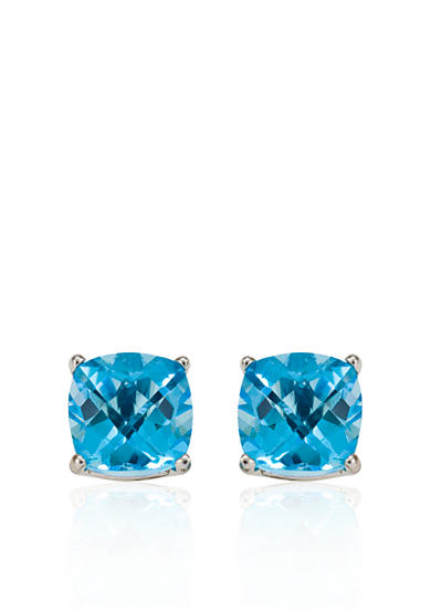Belk & Co. 14k White Gold 8mm Blue Topaz Stud Earrings
