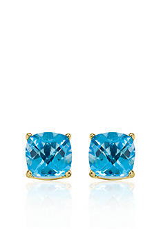 Belk & Co. 14k Yellow Gold 8mm Blue Topaz Stud Earrings