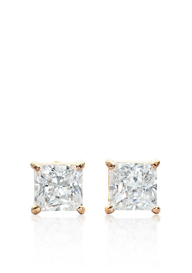 Belk & Co. 14k Yellow Gold 1.00 ct. t.w. Princess Cut Cubic Zirconia Earrings